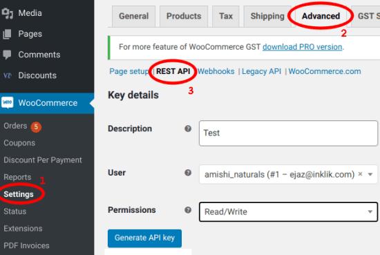 WooCommerce Generate API Key