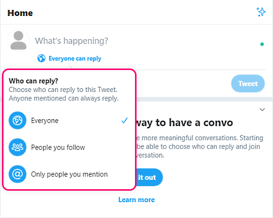 control reply on tweets