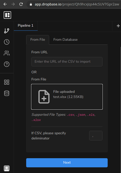 dropbase upload file