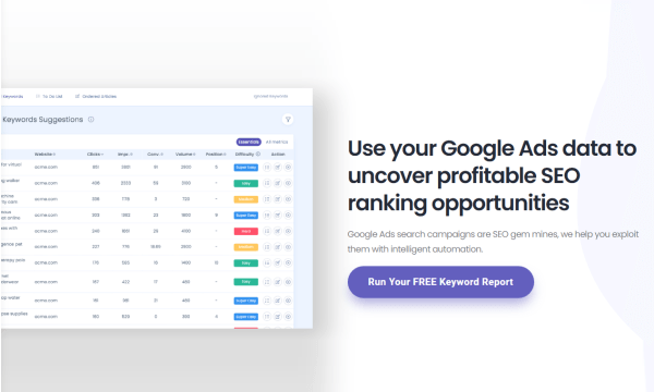 Find Low Competition SEO Keywords from Google Ads Data