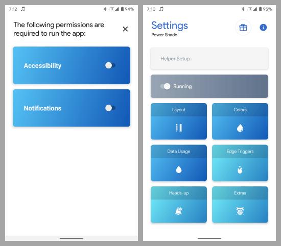 0power shade notification panel customizer