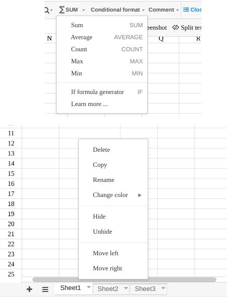 luckysheet formula and sheets management