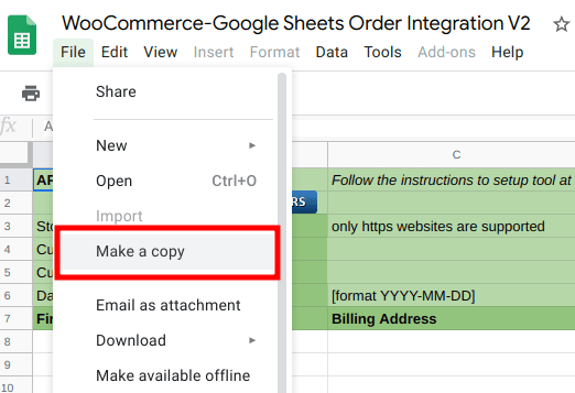 make a copy of the sheet