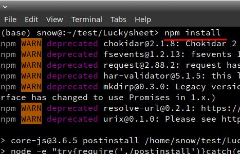 npm install for luckysheet