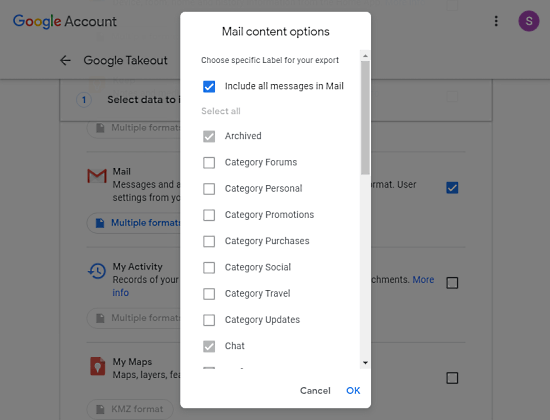 select gmail data that you want to download