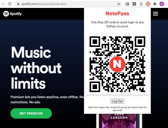 install notopass extension to login