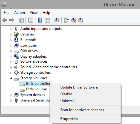 uninstall btrfs disk controller drivers from Windows