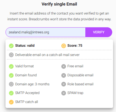 verify single email breadcrums