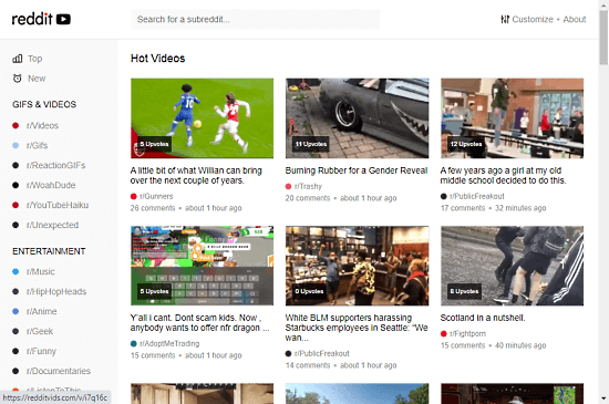 discover reddit videos by subreddits categories
