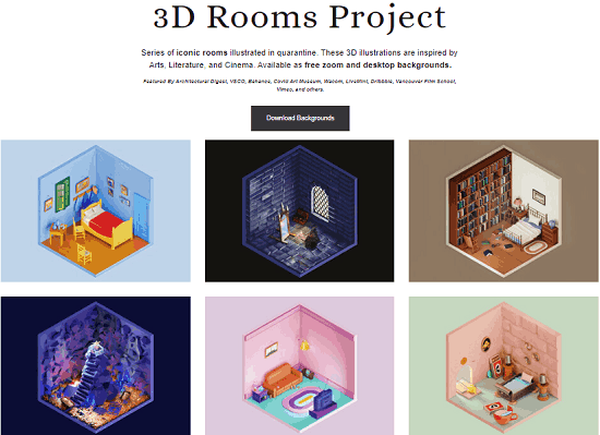 3D Room Backgrounds for Zoom Inspired from Movies, Literarture, Art