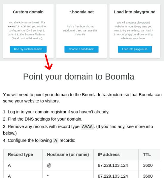 Boomla Choose Domain