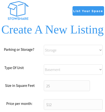 Stowshare create listing 1