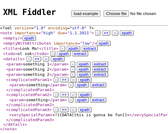 XML Fiddler Main XML File Loaded