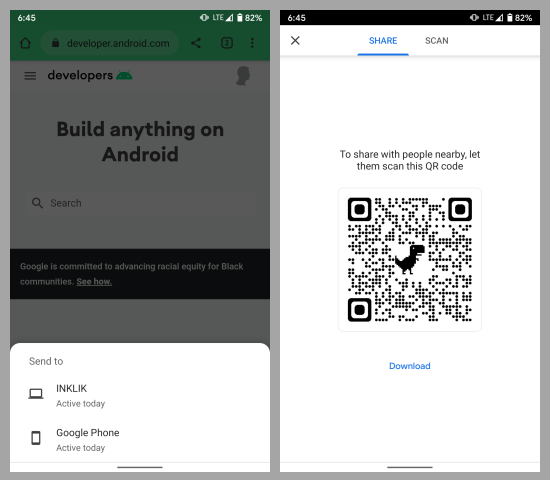 dino qr code share chrome android