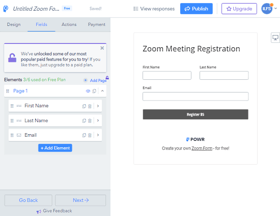 create form for zoom meetings