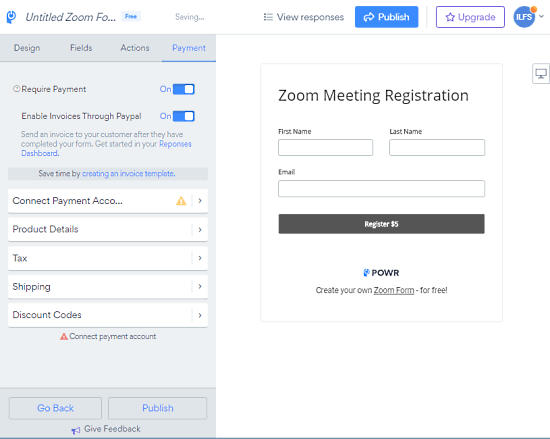 add payment option to zoom form