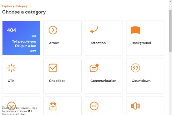 lottie icon animation categories