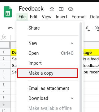 feedback sheet make a copy