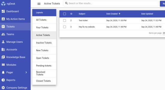 ngDesk UI Tickets