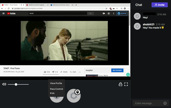 watch movies together remotely with chat