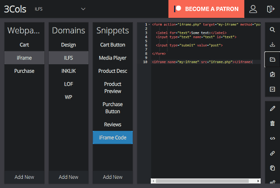 manager your snippets in 3-column view