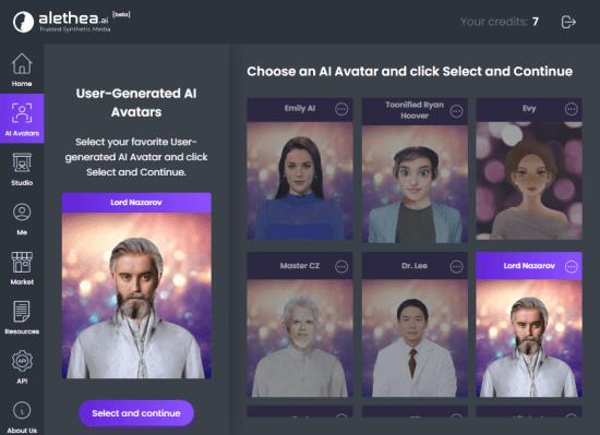pick an ai avatar
