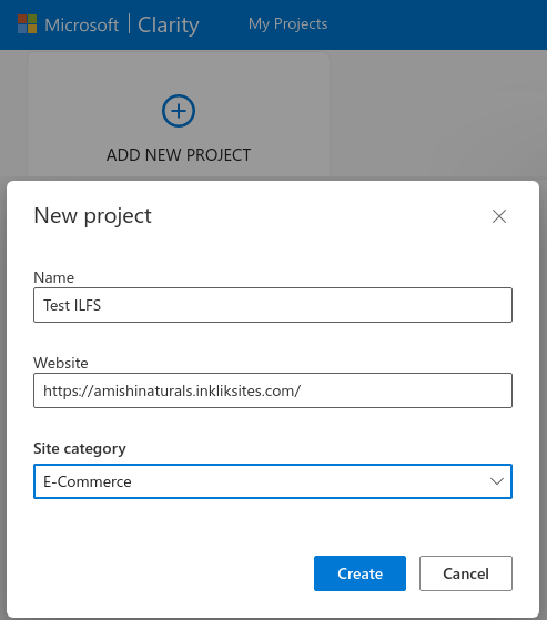 Add a new project Microsoft Clarity