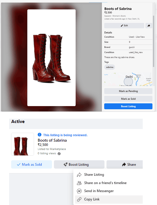 Facebook marketplace listing in action