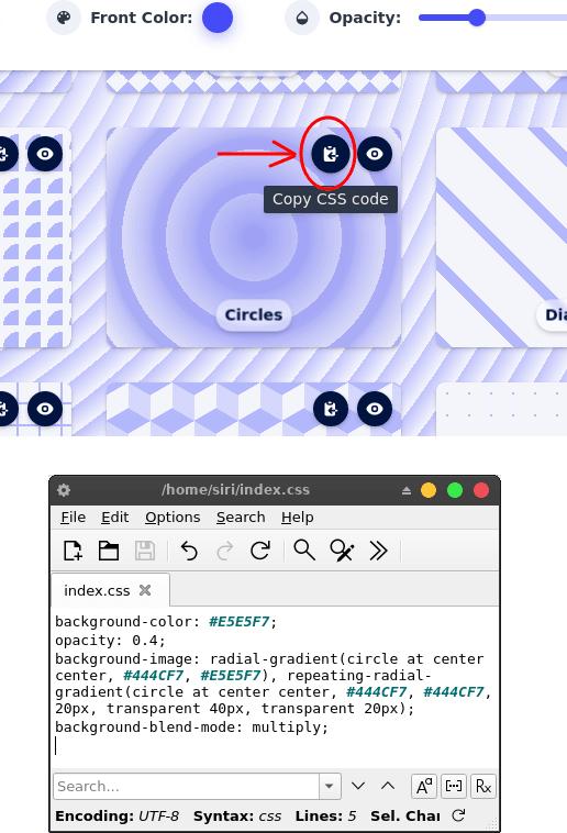 MagicPattern copy CSS code