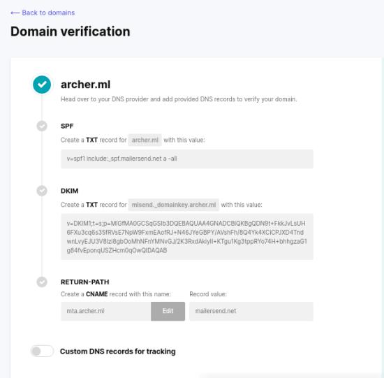 MailerSend domain settings