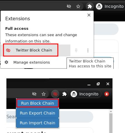 Twitter block chain run
