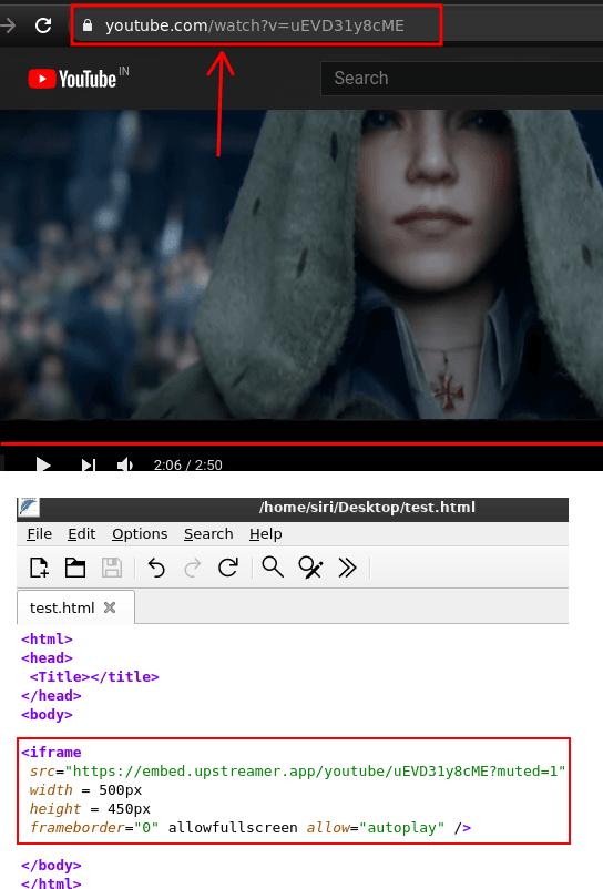 Upstreamer embed code fix