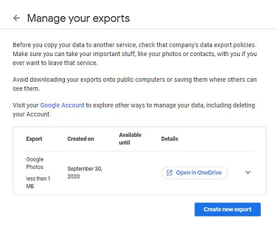 export google photos to onedrive