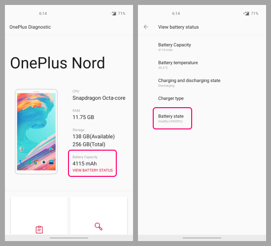 battery health on oneplus devices
