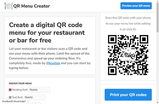create qr code menu