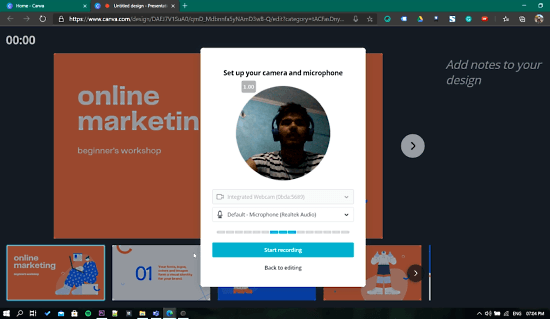 enable camera and microphone permissions in canva