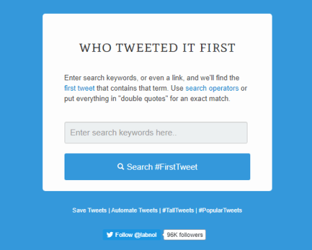 first tweets of a keyword on twitter