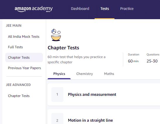 Amazon Academy Tests