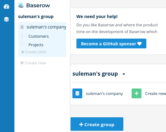 Baserow dashboard