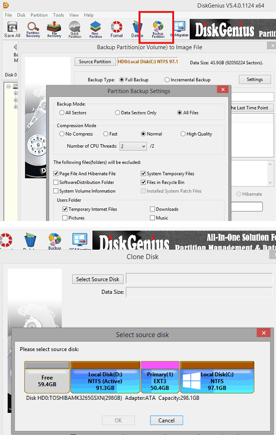 DiskGenius Backup and cloning