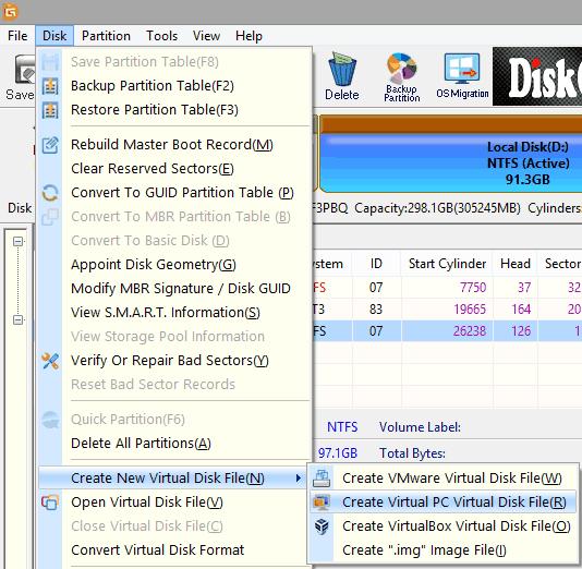 DiskGenius Virtual Disks Creator