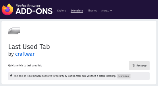 Last Used Tab Firefox
