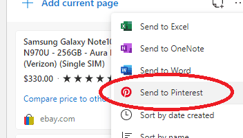 Microsoft Edge Pinterest integration