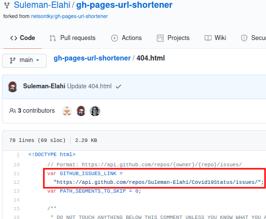 Specify GitHub Issues link