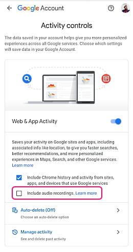 disable google assistant recordings