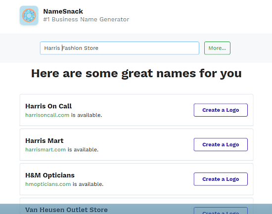 Generate Business Name with Domain Check