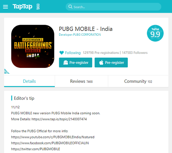 pre-register pubg mobile india on taptap