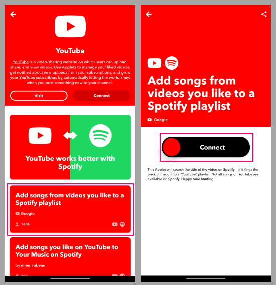 find the youtube like to spotify music