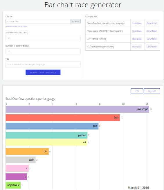 Bar chart race generator