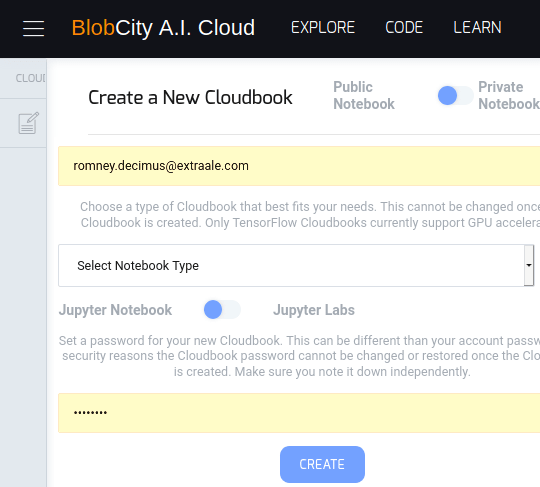 BlobCIty AI Cloud main UI